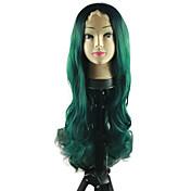 Mujer Pelucas sintéticas Encaje Frontal Medio Largo Ondulado Natural Verde Raya en medio Entradas Naturales Pelo Ombre Raíces oscuras