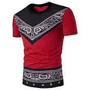 メンズ カジュアル/普段着 Tシャツ,ストリートファッション ラウンドネック 幾何学模様 ポリエステル 半袖