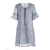 Mujer Línea A Vestido Noche Simple,Un Color Escote Redondo Sobre la rodilla Manga Corta Poliéster Otoño Tiro Medio Microelástico Medio