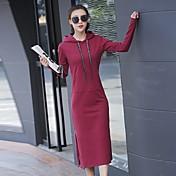 Mujer Camiseta Vestido Casual/Diario Activo,Un Color Con Capucha Midi Manga Larga Algodón Primavera Otoño Tiro Medio Microelástico Medio
