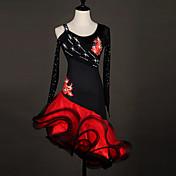 Debemos vestidos de danza latinos vestido de organza de rendimiento de las mujeres