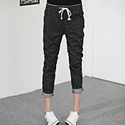 Mujer Chic de Calle Tiro Alto Microelástico Chinos Pantalones,Corte Recto A Rayas