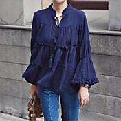 Mujer Vintage Simple Casual/Diario Camisa,Escote en Pico Un Color Manga Larga Otro