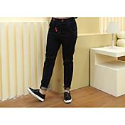 Mujer Sencillo Tiro Medio Alta elasticidad Chinos Pantalones,Pantalones Harén Un Color