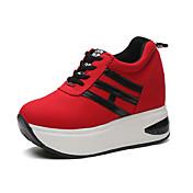 Mujer-Tacón Cuña-Confort-Zapatillas de deporte-Exterior / Deporte-Semicuero-Negro / Rojo