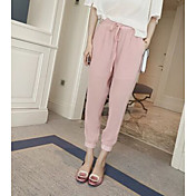 Mujer Sencillo Tiro Medio Microelástico Chinos Pantalones,Delgado Corte Ancho Un Color