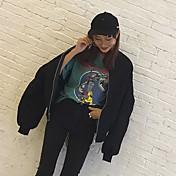 Mujer Activo Retro Casual/Diario Noche Invierno Otoño Chaqueta,Escote Redondo Estampado Manga Larga Algodón Corto