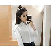 Mujer Simple Casual/Diario Camisa,Escote Chino Un Color Manga Larga Algodón Lino