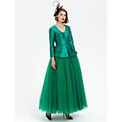 Plesový šaty v-krk délka kotníku taffeta tyle formální večerní šaty s gaugem obvazy