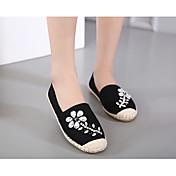 Mujer Zapatillas de deporte Zapatos con luz Algodón Verano Casual Negro Plano