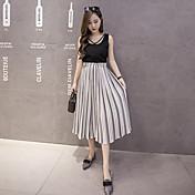 Mujer Chic de Calle Tiro Alto Alta elasticidad Chinos Pantalones,Perneras anchas Un Color