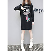 Mujer Bonito Playa Camiseta,Escote Redondo Estampado Manga Larga Algodón