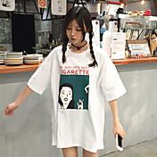 レディース カジュアル/普段着 春 夏 Tシャツ,シンプル ラウンドネック プリント コットン 半袖 薄手