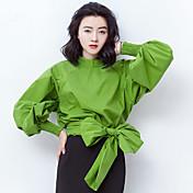 Mujer Simple Casual/Diario Camisa,Escote Redondo Un Color Manga Larga Algodón Fino