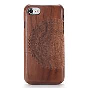Para Carcasa Funda En Relieve Diseños Cubierta Trasera Funda Fibra de Madera Mandala Dura Madera para AppleiPhone 7 Plus iPhone 7 iPhone