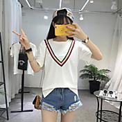 Mujer Simple Casual/Diario Camiseta,Escote Redondo Un Color Manga Corta Algodón