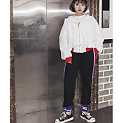 レディース ストリートファッション ハイライズ ルーズ 非弾性 チノパン パンツ ゼブラプリント