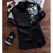 Hombre Simple Casual/Diario Camisa,Cuello Camisero Estampado Manga Corta Algodón Fino