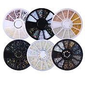 6ボックスの混合モデル光沢のある爪のラインストーンホイールのフラットボトムマニキュアdiyネイルアートアクセサリーの3Dネイルアートの装飾