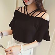 Mujer Sexy Simple Casual/Diario Camiseta,Escote Barco Un Color Manga Corta Algodón