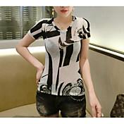レディース カジュアル/普段着 Tシャツ,シンプル Vネック プリント コットン 半袖 薄手