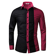 メンズ カジュアル/普段着 シャツ,アジアン・エスニック レギュラーカラー チェック コットン 長袖