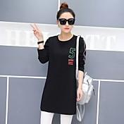Mujer Simple Casual/Diario Primavera Camiseta,Escote Redondo Un Color Estampado Manga Larga Algodón Opaco