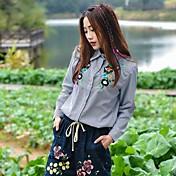 Mujer Simple Casual/Diario Camisa,Escote Chino Floral Bordado Manga Larga Algodón Opaco