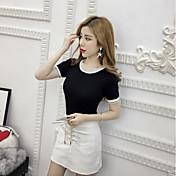 Mujer Simple Camiseta,Escote Redondo Un Color Manga Corta Algodón