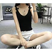 Mujer Sexy Playa Verano Tank Tops,Con Tirantes Un Color Sin Mangas Seda