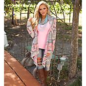 Mujer Simple Chic de Calle Noche Casual/Diario Primavera Otoño Camisa,Solapa de Pico Estampado Manga Larga Tipos Especiales de Cuero Medio