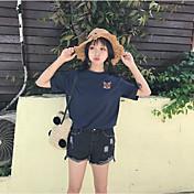 Mujer Bonito Casual/Diario Camiseta,Escote Redondo Estampado Animal Manga Corta Algodón