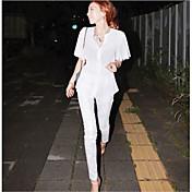 Mujer Sencillo Tiro Medio Alta elasticidad Chinos Pantalones,Pitillo Un Color