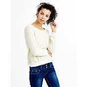 Mujer Simple Chic de Calle Noche Casual/Diario Otoño Invierno Camiseta,Escote Redondo Un Color Manga Larga Algodón Poliéster Fino