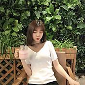 Mujer Sexy Casual/Diario Camiseta,Escote Redondo Un Color Manga Corta Algodón