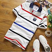 メンズ カジュアル Polo,シンプル シャツカラー ストライプ コットン 半袖