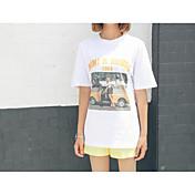 レディース カジュアル/普段着 春 Tシャツ,シンプル ラウンドネック プリント コットン 半袖 薄手