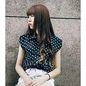レディース カジュアル/普段着 シャツ,シンプル シャツカラー 水玉 コットン ノースリーブ
