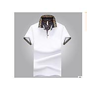 Pánské Jednobarevné Jdeme ven Běžné/Denní Jednoduché Tričko-Léto Bavlna Košilový límec Krátký rukáv Střední