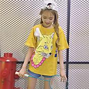 レディース カジュアル/普段着 Tシャツ,シンプル キュート ラウンドネック プリント アニマルプリント コットン 半袖