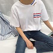 レディース カジュアル/普段着 春 夏 Tシャツ,シンプル ラウンドネック レタード コットン 半袖 薄手