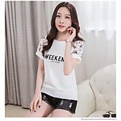 Mujer Tejido Oriental Noche Casual/Diario Vacaciones Verano Camiseta,Escote Redondo Un Color Floral Letra Manga Corta Algodón Medio