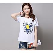レディース カジュアル/普段着 夏 Tシャツ,シンプル ラウンドネック フラワー リネン 半袖