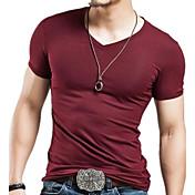 Hombre Simple Casual/Diario Verano Camiseta,Escote en Pico Un Color Manga Corta Algodón Opaco