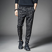 メンズ シンプル ストリートファッション 活発的 パンク&ゴシック ミディアムウエスト リラックス ハーレム strenchy ハーレム チノパン パンツ 純色 混色 スリム カモフラージュ ファッション