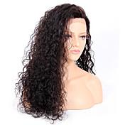 Mujer Pelucas de Cabello Natural Remy Encaje Frontal Frontal sin Pegamento 130% Densidad Ondulado Grande Peluca Negro Azabache Negro