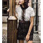 Mujer Encaje Vestido Casual/DiarioEstampado Cuello Camisero Sobre la rodilla Manga Corta Rayón Verano Tiro Medio Microelástico Medio