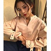 Mujer Simple Casual/Diario Primavera Verano Camisa,Escote en Pico Un Color Manga Larga Fibra de bambú Opaco