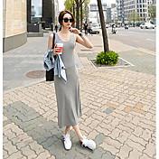 Mujer Camiseta Vestido Playa Un Color Con Tirantes Maxi Sin Mangas Otro Verano Tiro Medio Microelástico Medio