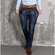 Hombre Sencillo Tiro Medio Microelástico Vaqueros Pantalones,Holgado Un Color